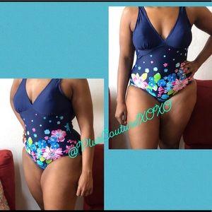 💙 Blue Flower One Piece Swimsuit Plus Size